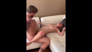 Abby Adams Gets Spit Roasted in Bisexual MMF Threesome Blonde College Babe Gangbang