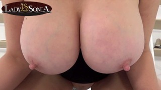 Lady Sonia jiggles her huge boobs in your face