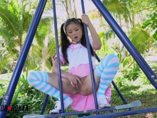 Asian School Girl Lulu Chu Masturbates in Public Park - Amateur Boxxx