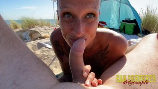 Public sex at nude beach with voyeurs