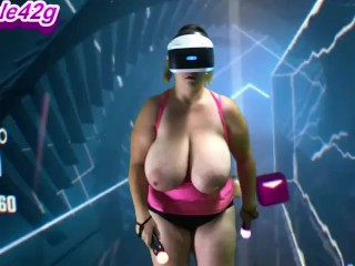 """Nicole42g Plays Beat Saber S1 Ep 1DD  """"Boundless"""" Playing Topless! Difficulty Normal"""