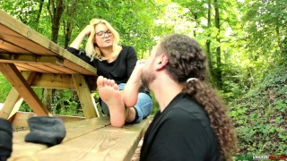 Italian Teen Seduces Professor and Gets Her Feet Smelled Outdoors FemDom Foot Domination