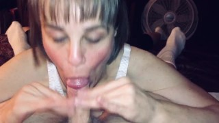 Mature Hot Wife blowing young guy's mind and cock and gets every last drop