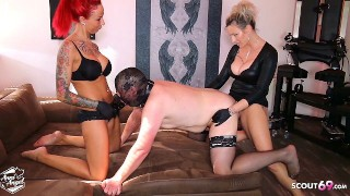 Femdom Strap On Pegging Fuck 3Some with 2 German BDSM Teen