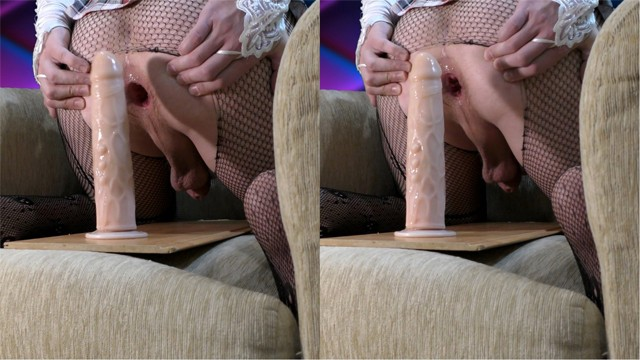 Femboy sexually rides a dildo and enjoys ( sissy trap cd fuck hole ts )