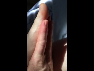 Hairy Girl Rubs Toes With Lotion