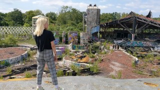 Screen Capture of Video Titled: Risky public fucking! Exploring an abandoned water park