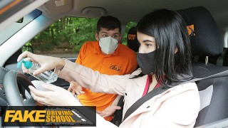 Driving School Lady Dee sucks instructor's disinfected burning cock