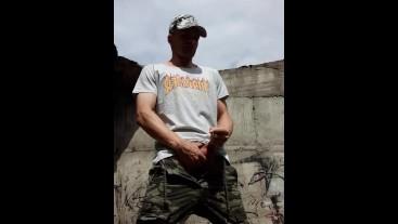 Stroking my cock in the sunshine. Thrasher Tshirt. Cum.