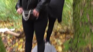 german girls outdoor trampling