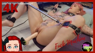 Rope Tied Girl Gets Fucked By Fucking Machine On The Floor