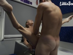 Horny student girl was fucked hard in the train