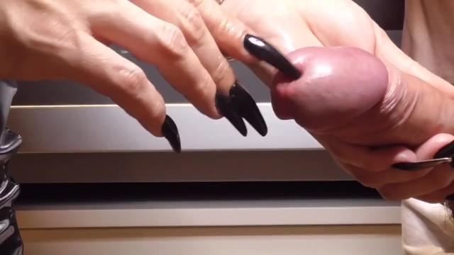 Pretty Ebony Nails Handjob