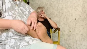 Kay tickles me in my sheer socks