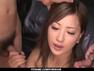 Aika sucks dick like a goddess during hot threeesome - More at Slurpjp com