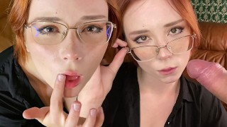 Horny Teacher Deepthroat Student Dick, Rough Fuck and Gets Cum on Glasses