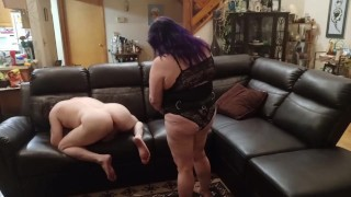 Licking hubby's tight ass then pegging him hard with my strapon cock