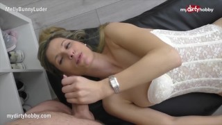 MyDirtyHobby - Gorgeous blonde MILF in stockings gets a cumshot after rough fuck