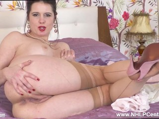 Busty brunette Milf Karina Currie fingering wet pussy in nylons and stilettos