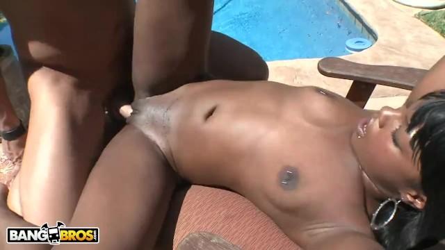 BANGBROS - Interracial Poolside Fun With Coffee Brown On Brown Bunnies!