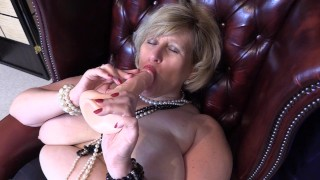 Big Tit Whorein Stockings with Pearl Necklaces enjoys Fucking Herself