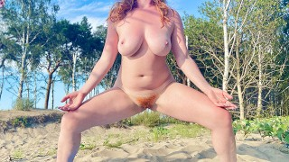 NAKED HAIRY GINGER PUSSY BEACH YOGA STRETCH   Big Tits Curvy Amateur Redhead MILF Risky Public Nude