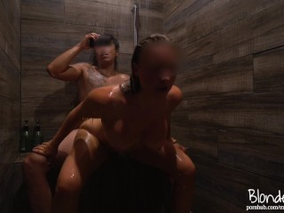 I snuck him into the women's shower to cum all over my ass. Sexy College Camping Vacation Sextape