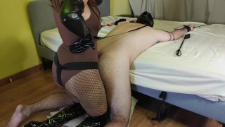 Chastity Slave Gets Pegged, Tortured & Humiliated By Sexy Mistress In Leather Gloves & Boots