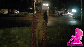 Naked in public park in the night