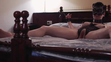 Escort gets tied to the bed but the customer does not want to fuck her