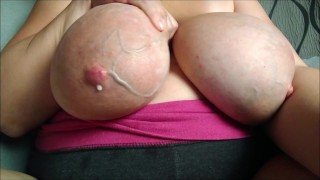 Huge veins on my big saggy milk filled boobs with huge areolas
