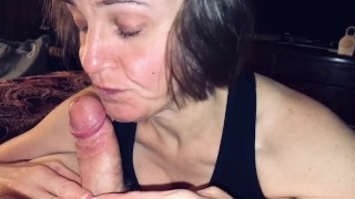 Mature cougar loves getting her daily protein from a young man pov BJ