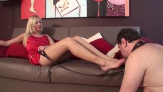 slave joschi have to worship agneta`s sexy feet