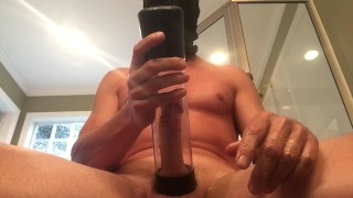 Intense cumming multiple times with a cock pump
