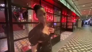 Lady Bellatrix walks the streets of London in latex