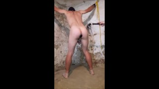 Mistress and slave , bondage in dungeon whipped ass - short version