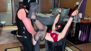 Locked in sex swing and fetish fucked