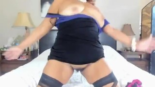 Mature Latina woman ripping my nylons, dancing with hairy pussy