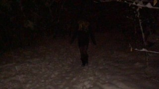 Real Amateur Female Masker Wearing Boots, Tight Black Dress in Various Locations in Winter