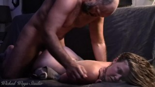 Lovely Lavender Joy begs me to cum in her tight pussy, Older man has sensual sex with young babe