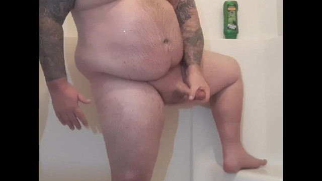 Beefy chubby bear soaps up beautiful cock and has moaning orgasm
