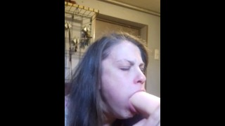 Amazing deepthroath degraded married slave bitch alone with huge toy