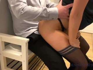 business woman after work fucked by the boss on a bench