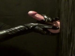 long Black gloves handjob at the gloryhole