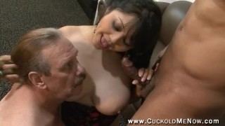 Interracial bi cuckold creampie eating hot wife and sissy husband suck cock together and sex