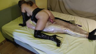 Wrapped In Tight Bondage And Fucked By Leather Goddess In Boots - Ends In Creampie