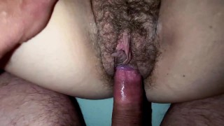 Babe with Natural Bush Fucked Real Hard with Creampie