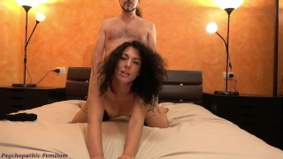 The Cuckold Looks At His Girlfriend With Alpha Male. French Kissing, FemDom Sex, Foot Domination