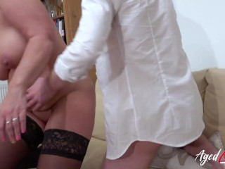 AgedLovE Mature Lady Riding Youngster Cock Hard