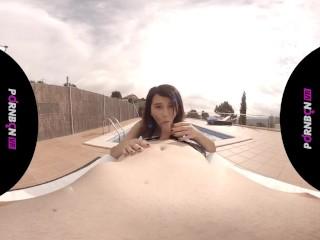 PORNBCN VR 4K | Fucking the young neighbor in the virtual reality community pool Mia Navarro POV